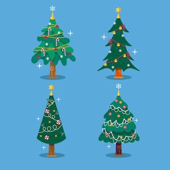 Conjunto de árvores decoradas de design plano