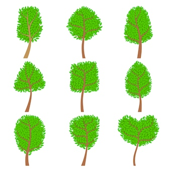 Conjunto de árvores decorativas