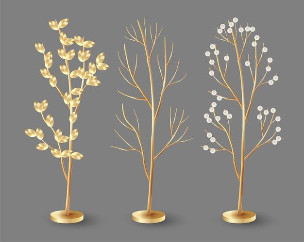 Conjunto de árvores douradas com bagas e folhas