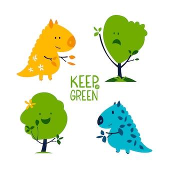 Conjunto de árvores e dinossauros bonitos dos desenhos animados