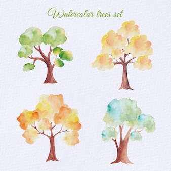 Conjunto de árvores em aquarela