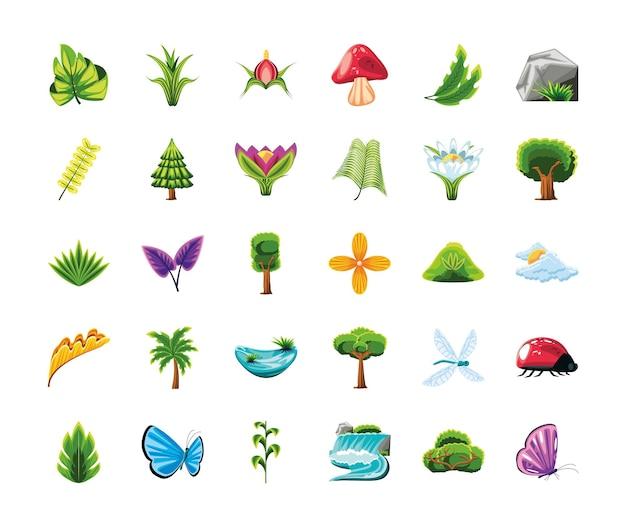 Conjunto de árvores, flores, animais, rio e folhagem
