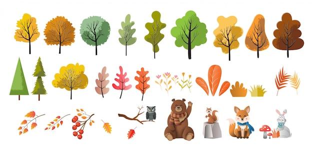 Conjunto de árvores, flores e animais, estilo arte em papel