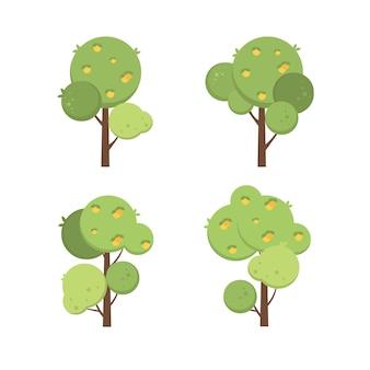 Conjunto de árvores frutíferas verdes botânicas vegetais verdes coleção floral ilustração