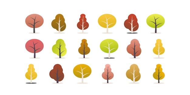 Conjunto de árvores. ilustração em desenho animado da temporada de outono