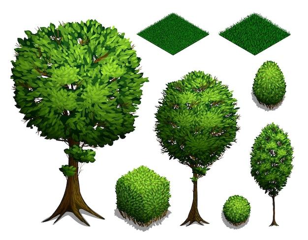 Conjunto de árvores isométricas. arbustos isométricos realistas, árvores e grama isolados no fundo branco. ícone plano isométrico