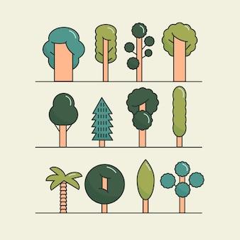 Conjunto de árvores planas modernas. conjunto de ícones de árvore, símbolos de árvore.