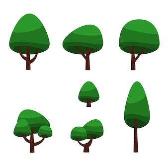 Conjunto de árvores verdes de desenhos animados e arbustos