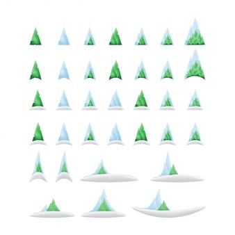 Conjunto de árvores verdes e montanhas na neve em um gradiente para o natal e ano novo.