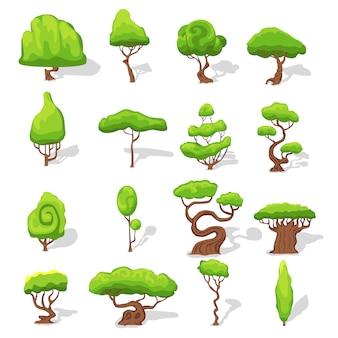Conjunto de árvores verdes fantásticas