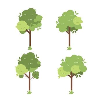 Conjunto de árvores verdes plantas verdes coleção floral ilustração