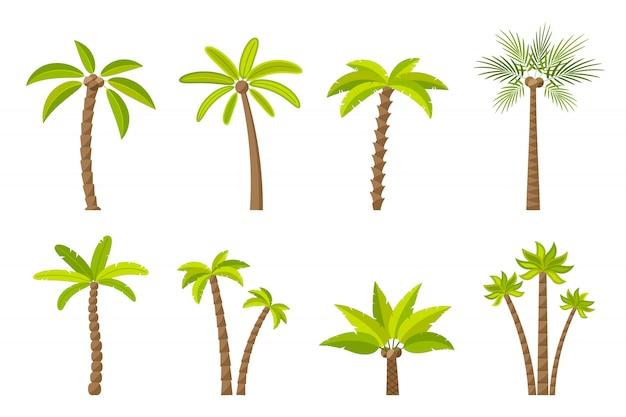 Conjunto de árvores verdes simples.