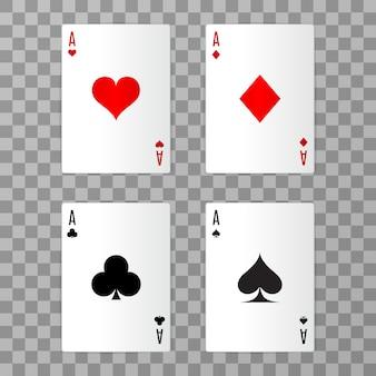 Conjunto de ás jogando cartas com sombra no fundo transparente. fácil de substituir. ilustração.