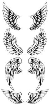 Conjunto de asas de águia em estilo de tatuagem. elemento de design de logotipo, etiqueta, sinal, cartaz, cartão, camiseta. ilustração vetorial