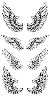 Conjunto de asas de águia em estilo de tatuagem. elementos de design para logotipo, etiqueta, sinal, cartaz, camiseta. ilustração vetorial