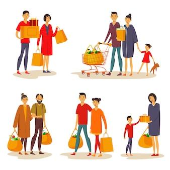 Conjunto de asiáticos isolados durante as compras