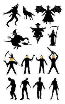 Conjunto de assassino serial de zumbi de monstro de halloween