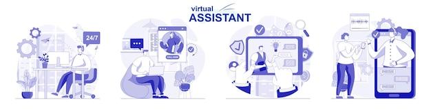Conjunto de assistente virtual isolado em design plano as pessoas aconselham os clientes a resolver problemas por videochamada