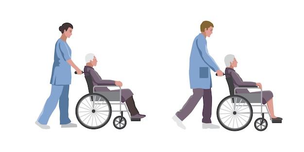 Conjunto de assistentes médicos sociais com idosos em cadeiras de rodas