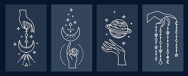 Conjunto de astrológico místico. astronomia. arte de linha