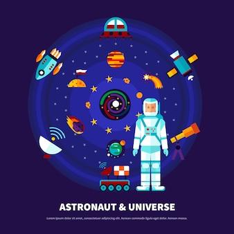 Conjunto de astronauta e universo
