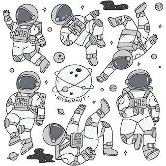 Conjunto de astronauta em poses diferentes