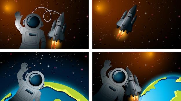 Conjunto de astronauta no fundo do espaço