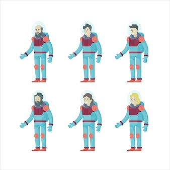 Conjunto de astronautas planos coloridos