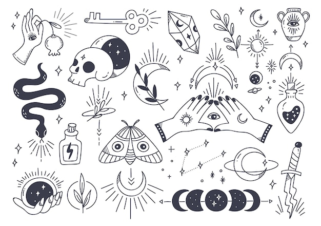 Conjunto de astronomia mística na ilustração de estilo doodle desenhado à mão
