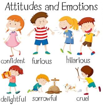 Conjunto de atitudes e emoções das crianças