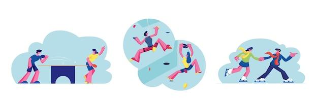 Conjunto de atividade esportiva de pessoas, personagens escalando parede, jogando pingue-pongue e patinando na pista de gelo. homem e mulher na área de recreação para treinamento esportivo e jogos de lazer. ilustração em vetor de desenho animado