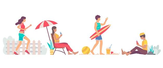 Conjunto de atividades ao ar livre de verão em design plano