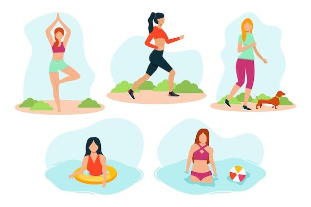 Conjunto de atividades ao ar livre de verão