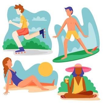 Conjunto de atividades ao ar livre do verão