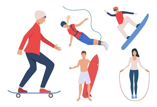 Conjunto de atividades ao ar livre. homens e mulheres snowboard