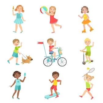 Conjunto de atividades ao ar livre para crianças