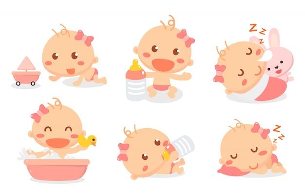 Conjunto de atividades de bebê menina. bebê agindo. desenvolvimento do bebê e marcos.