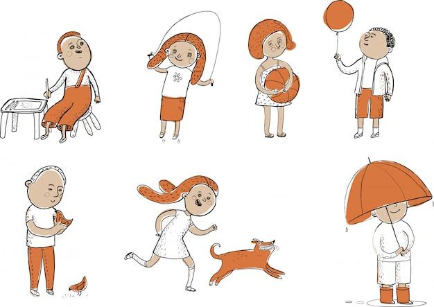 Conjunto de atividades de crianças