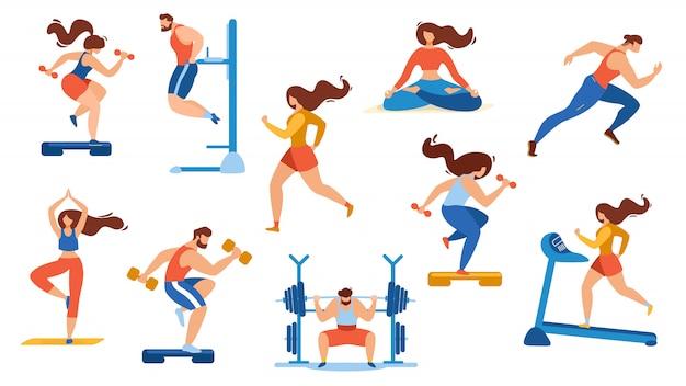 Conjunto de atividades de esporte de horário de verão isolado no branco