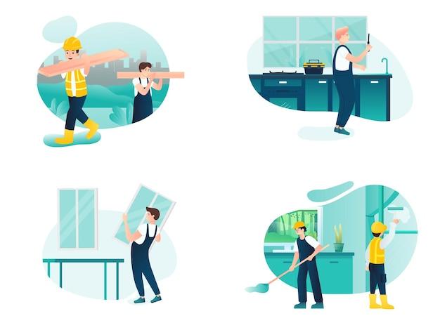 Conjunto de atividades de faz-tudo e conserto