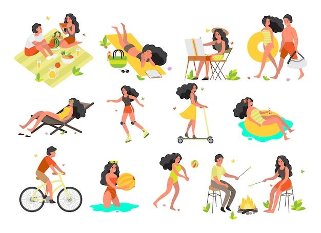 Conjunto de atividades de férias de verão. nadando, deitado na praia.