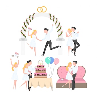Conjunto de atividades de festa de casamento