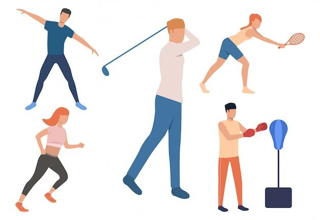 Conjunto de atividades de fim de semana. homens e mulheres jogando tênis
