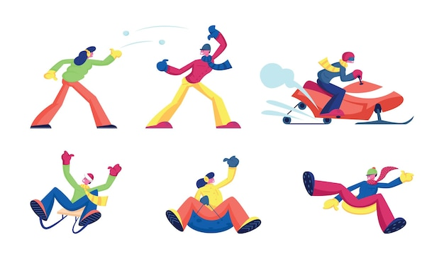 Conjunto de atividades de inverno e diversão recreativa.