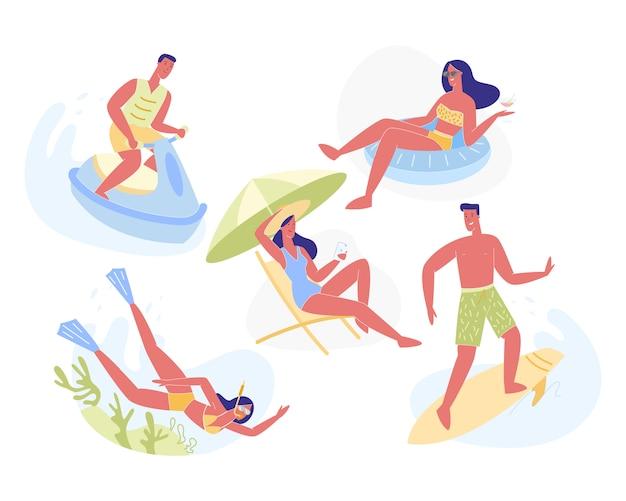 Conjunto de atividades de lazer e férias de verão