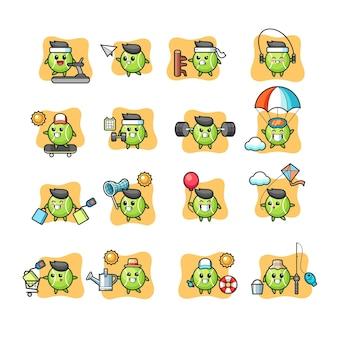Conjunto de atividades de personagens de tênis kawaii