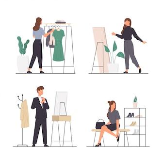 Conjunto de atividades de pessoas escolhendo e experimentando uma roupa no guarda-roupa