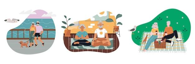Conjunto de atividades de pessoas seniores