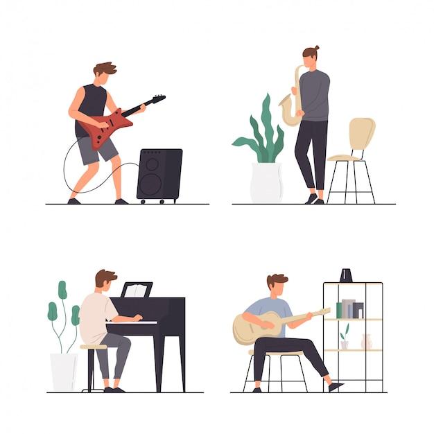 Conjunto de atividades de pessoas tocando diferentes tipos de instrumento musical