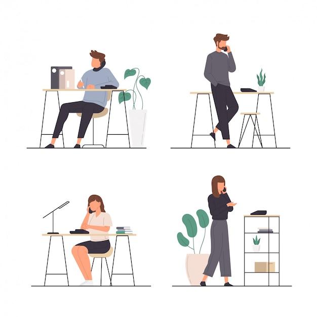 Conjunto de atividades de pessoas usando telefone no escritório